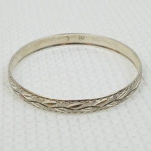 Signed Sterling SILVER Diamond Cut Bangle Bracelet